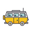 minivan travel family car flat line vector image