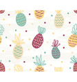 Seamless pineapple pattern with polka dots vector image