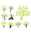 set of 9 decorative green trees vector image