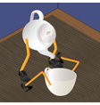 Teapot and cup on a table vector image
