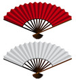 two hand fans in red and white vector image