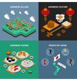 Japan Touristic Isometric 2x2 Icons Set vector image