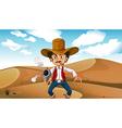 A cowboy smoking with a gun at the desert vector image vector image