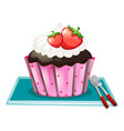 cupcake with cream and strawberries vector image vector image