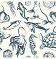 sea creatures - hand drawn seamless pattern vector image