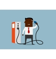 Businessman shooting himself with gas nozzle vector image