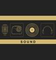 Microphone radio vinyl disc headphones vector image