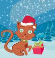 Santa cat Christmas card vector image