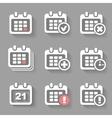 Calendar Icons- event add delete progress White vector image