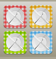 dinner place setting icon set realistic white vector image