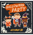 Grunge Halloween background with kids vector image