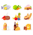 set of icons of natural products on white vector image