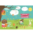 Cute animals in spring forest vector image