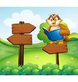 An owl reading above an empty arrow signboard vector image