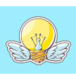 yellow lightbulb with wings flying on blu vector image