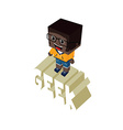 isometric female geek cartoon character vector image