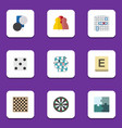 flat icon games set of chequer jigsaw chess vector image