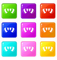 glasses icons 9 set vector image