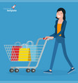 young woman walking with shopping cart vector image