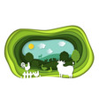 paper art carving of landscape with farm animals vector image