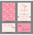 Invitation-Congratulation Card Set - Flamingo vector image