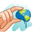 Save water theme with hand squeezing earth vector image