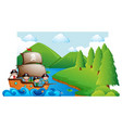 scene with kids on pirate ship vector image