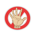 stop sign with hand vector image vector image