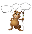 A beaver holding a stick with empty callouts vector image vector image