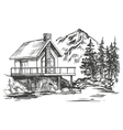 house in mountain landscape hand drawn vector image