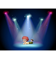 A boy lying in the middle of the stage with vector image vector image