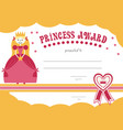 printable princess certificate has a pretty pink vector image