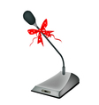 A Beautiful Conference Microphone with Red Ribbon vector image
