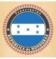 Vintage label cards of Honduras flag vector image