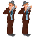 Happy cartoon man standing in gray hat with pipe vector image