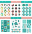Set of design elements for Christmas and New Year vector image