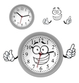 Cartoon gray office wall clock character vector image
