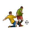 football players with the ball vector image vector image
