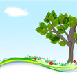 Background with tree and flowers vector image