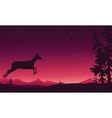 Christmas scenery deer of silhouette vector image