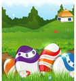 Easter eggs in the grass and rural house vector image