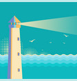 lighthouse vintage postervintage sea waves vector image