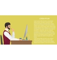 Modern young office worker using computer Front vector image