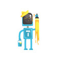 robot painter character android with paint brush vector image