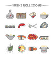 sushi roll and sashimi icon set vector image