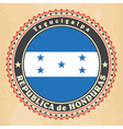 Vintage label cards of Honduras flag vector image