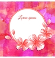 Watercolor flower rounded frame vector image