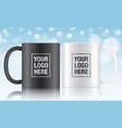 Black and white coffee mugs vector image