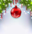 Christmas glowing background with glass ball fir vector image