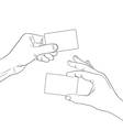 hand hold a blank card outline contour vector image
